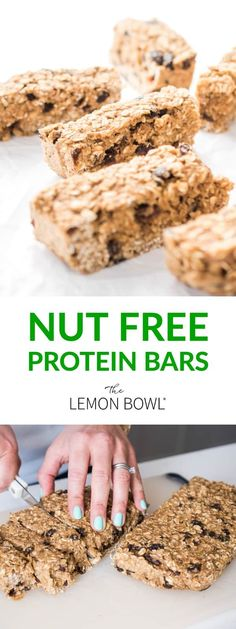 A healthy alternative to store-bought granola bars, these chewy nut-free protein bars are perfect for snacking on-the-go! #proteinbar #snack #breakfast #nutfree #allergyfriendly #mealprep #kidfriendly