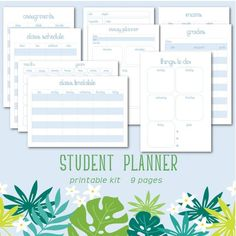 Student Planner Printable Kit Its BACK TO SCHOOL season and its time to get organized! With this Student Planner Printable Kit you will be able to stay on top of your assignments, plan your study sessions, track your grades and more! Revision Timetable, School Timetable, Student Planner Printable, Planner Template, Essay Planner, Cornell Notes Template, Exam Schedule, Planner Organization, Study Tips