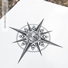 Compass mandala with the Earth Available on Skinque!