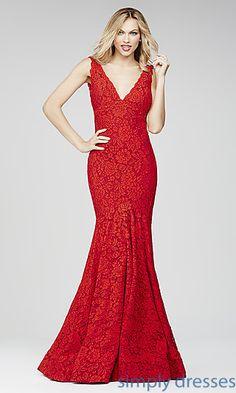 Jovani V-Neck Lace Open Back Floor Length Formal Gown