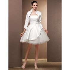 Ball Gown Strapless Knee-length Satin And Tulle Wedding dress with A wrap