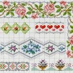 """Barradinhos de flores para bordar em ponto cruz em toalhas ou panos de pratos. Ficam lindos! [gallery columns=""""4"""" ids=""""929,930,931,932,933,934,935,936,937,938,939..."""