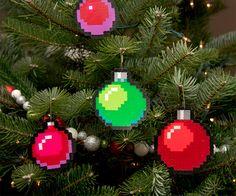 8-Bit Pixelated Tree Ornaments http://www.thisiswhyimbroke.com/8-bit-pixelated-tree-ornaments