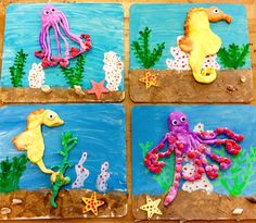Model Magic Clay sea life on wood seahorse octopus Art with Mr. Giannetto blog