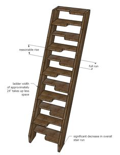 The Collection of 1600 Woodworking Plans - Loft Stairs - Alternating Tread Space Saving Stairs for Loft Space Saving Staircase, Loft Staircase, Attic Stairs, Staircase Design, Stairs For Loft, Woodworking Plans, Woodworking Projects, Wood Painting Techniques, Ship Ladder