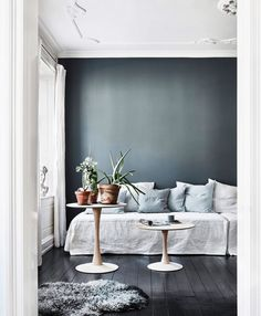 I love the blue colors of the pillows in this living room against the dark grey wall and the black floor. Combined with some plants in terracotta pots this gives the room a really fresh look. The art