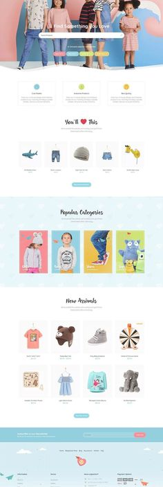 Website Design Layout, Web Layout, Website Design Inspiration, Layout Design, Kids Store, Baby Store, Kids Web, Website Themes, Shopping Websites