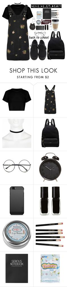 """""""back to school"""" by grunge4lyfe ❤ liked on Polyvore featuring Topshop, River Island, Radley, Retrò, The New Black, OUTRAGE, Hershey's, Cath Kidston, Again and Boohoo"""