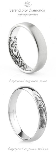 Two variations of the original fingerprint wedding ring from Serendipity Diamonds. Available from most locations Worldwide, we send clients paper and ink pad to prepare their prints before they are sent and faithfully added to the wedding rings creating a Wedding Rings Simple, Unique Rings, Trendy Wedding, Gold Wedding, Tiffany Wedding, Silver Wedding Dresses, Unique Mens Wedding Bands, Unique Wedding Rings, Elegant Wedding