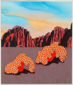 Ceramic artist and printmaker Kenneth Price (American:  1935 -  2012) - 'Hot Bottoms', 2005 -Watercolor on paper