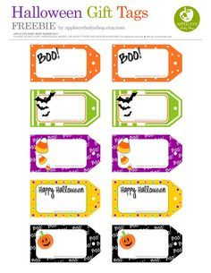FREE Printables HALLOWEEN GIFT TAGS. DIY Crafts Projects, Garland, Cards, Notecards, Silhouette or Cricut Projects, Scrapbooking, Birthday Celebrations, Present, Banner, Paper Goods, Mason Jar Tags, Decorative Detail, Candy Favor Tags. Boo!, Bat, Pumpkin, Candy Corn. JUST PRINT! And Have a Spooky Day! By #AppleEyeBabyShop