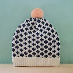 Black & White Criss-Cross, Peach Pom Pom Knit Slouchy Hat