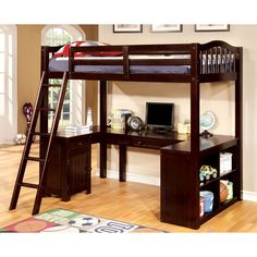 Furniture of America Melvan Country Style Slatted Twin over Workstation Loft Bed (Espresso), Brown