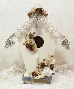 ButterBeeScraps Bronze and Ivory Shabby Filigree Birdhouse