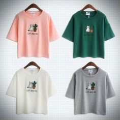 Super cute t-shirt with cranky cat and cactus embroidery! Available in pink, grey, white and green.  Measurements: Chest - 50cm   Length - 53cm   Shoulders - 54cm  Sleeves - 16cm