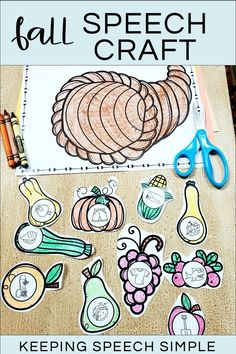 Do you love using crafts during your speech therapy sessions? If so, you'll love this cut and glue cornucopia speech therapy resource. This articulation activity includes most phonemes in all word positions including vocalic R and blends. Use this craft with your kindergarten and elementary students. Great for mixed groups in your speech room. Use for carryover and fluency too. Can use the food pieces to play barrier games to target language goals. Low prep, speech therapy run!