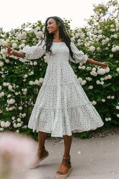 Style Outfits, Casual Dress Outfits, Casual Summer Dresses, Cute Outfits, Cute Church Outfits, Sunday Dress Outfit, Summer Floral Dress, Vintage Summer Dresses, Green Dress Casual