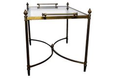 "Vintage Glass Top Coffee Table on OneKingsLane.com | As described by Theodora Antiques:  Glass top coffee table with stretcher and handles on each side | brass frame | 33""w x 19""d x 19""h 