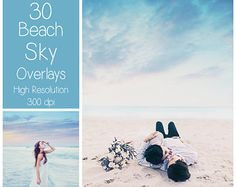 30 Beach Sky Overlays - Dreamy Sky Textures - Photoshop Overlays - Pastel Sky - Digital Background - Photography Overlay - Sky Backdrop