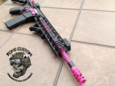 This Beautiful AR is finished in Cerakote Sig Pink and Graphite Black. The flutes on the barrel were special coated in Sig Pink to make it POP.