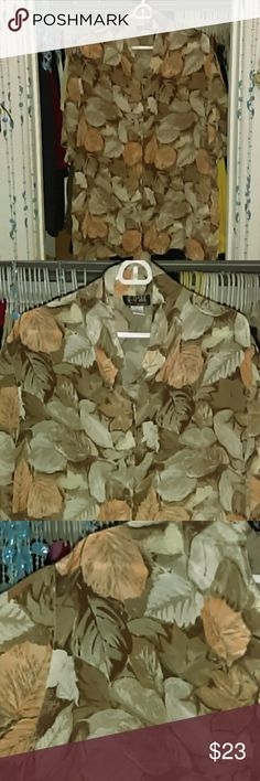 Vintage Silk Autumn Leaves Buttonup Blouse Great condition! 100% Silk. Quo Silk Tops Blouses