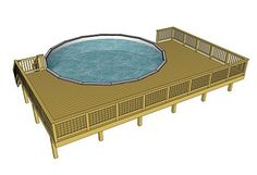 Above Ground Pool Deck Plans Above . Free Deck Plans, Pool Deck Plans, Deck Building Plans, Oberirdischer Pool, Swimming Pool Decks, Cool Deck, Diy Deck, Round Above Ground Pool, Moderne Pools
