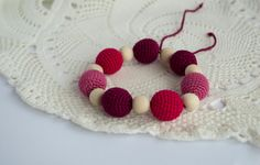 Cranberry Color Crochet Teething Bracelet  by MyFirstToy on Etsy