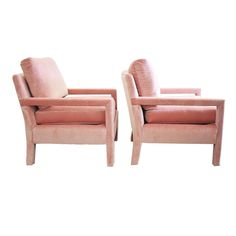 Milo Baughman Parsons Style Pink Velvet Lounge Chairs - A Pair - Image 6 of 7