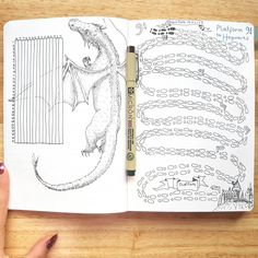 tracker spreads in my bullet journal one yearly tracker with a dragon and a step or mile counter in harry potter theme. Bullet journal inspiration