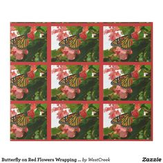 Butterfly on Red Flowers Wrapping Paper