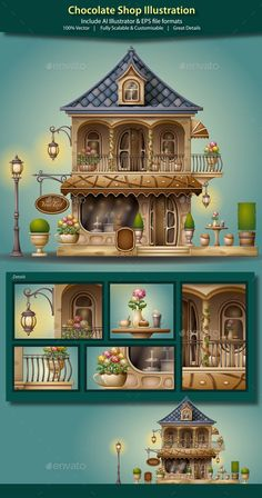 Chocolate Shop Illustration - Buildings Objects
