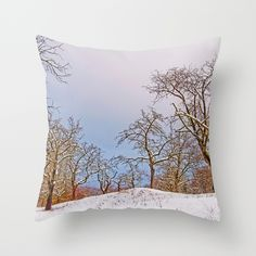 Fruit trees in the snow Throw Pillow A snow-covered meadow with some old fruit trees on a winter morning in a lovely light.   Nature, photography, rural, agriculture, trees,snow,winter,white,sky, light, blue, landscape,meadow
