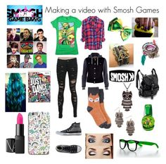 """""""Making a Game Bang with Smosh games"""" by hannah-is-super-amazing ❤ liked on Polyvore featuring NARS Cosmetics, Dinosaurs, Nintendo, River Island, Converse, Target, Full Tilt, Decree, smosh and smoshgames"""