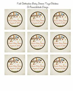 autumn baby clothesline shower favor tags or by persnickitude, $8.00