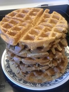 Paleo Waffles made with oat flour and coconut milk 1/3 cup egg whites, 1 Tbsp coconut cream in 2 cups H2O, 1 Tbsp olive oil, 1 tsp vanilla, 2 cups oats made into flour, 1 pack stevia, pinch sea salt, 1 tsp baking soda, 1 Tbsp bk pd, 1 tsp cornstarch. Whip eggs til stiff. Put all dry ingredients together, stir the liguids into them, then fold egg whites in. I used 1 cup for each waffle in my hamilton beach belgium waffle iron. 5 mins. Recipe makes 6 at 153 calories each Low Carb Recipes, Cooking Recipes, Healthy Recipes, Hamilton Beach Waffle Maker, Coconut Cream, Coconut Milk, Paleo Waffles, Belgium Waffles, Oat Flour