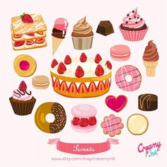 Instagram media creamyink - Sweets time! #art #digital #digitalart #etsy #etsyart #clipart #craft #creamyink #sweets #cake #vector #graphic #design #illustration #scrapbooking #stamp #drawing