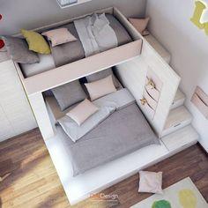 Dormitorios infantiles de estilo minimalista de DA-Design #dormitorio Bunk Bed Designs, Kids Bedroom Designs, Cute Bedroom Ideas, Room Design Bedroom, Cute Room Decor, Room Ideas Bedroom, Home Room Design, Small Room Bedroom, Bedroom Decor