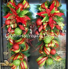 Set of Two Christmas Door Swags. $150.00, via Etsy.