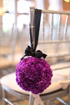 modern bold purple and black wedding ceremony decor
