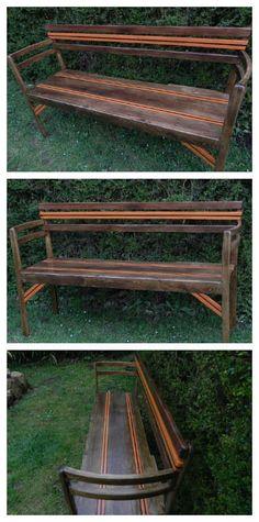 #Outdoor, #PalletBench Garden bench made with two old chairs and pallets wood.   Banc d'extérieur réalisé avec deus chaises et des planches de palettes recyclées.