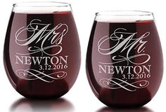 Set of Two Custom MR and MRS with Last Name Date Stemless Wine Glass 21 Oz Classy Wedding Bride Groom Future Married Couple Christmas Gift -- To view further for this item, visit the image link.Note:It is affiliate link to Amazon.