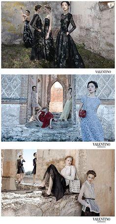 Spring 2012 Valentino. Models: Maud Welzen, Zuzanna Bijoch, Bette Franke, and Fei Fei Sun. Photographer: Deborah Turbeville.