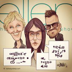 "Finnish ""Tongue Girl"" Smoukahontas alias Sara Maria Forsberg in LA - Ellen De Generes Show. #tonguegirl #caricature #ellendegeneres #sara #forsberg #jerehietala"