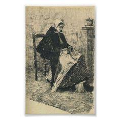 Van Gogh - Scheveningen Woman Sewing Print