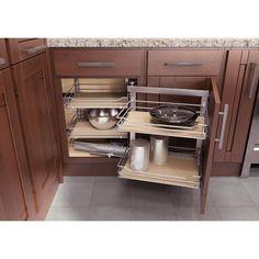 """""""COR Fold"""" Corner Base Cabinet & Blind Corner Swing-Out And Slide Kitchen Cabinet Organization System by Vauth-Sagel Base Cabinets, Kitchen Cupboards, New Kitchen, Kitchen Storage, Kitchen Decor, Kitchen Design, Kitchen Ideas, Kitchen Units, Kitchen Modern"""
