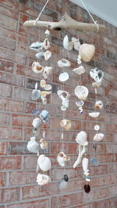 Driftwood sea shell mobile. It would be cool to put it on the porch I think.
