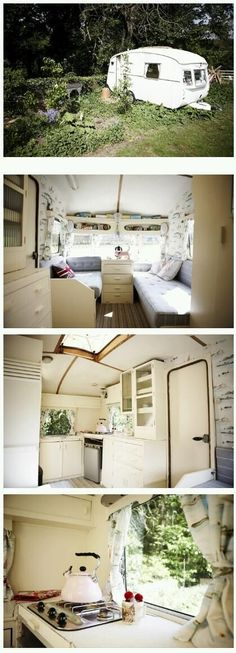 Vintage Caravans 294141419389545920 - Simple Living in a Tiny Travel Trailer – I love how cozy this place is! So inviting and homey. Source by typhelleducrocq Retro Caravan, Pimp My Caravan, Vw Caravan, Retro Campers, Vintage Campers, Caravan Hacks, Vintage Motorhome, Camping Vintage, Vintage Rv