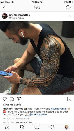 Phoenix Tattoo Sleeve, Lion Tattoo Sleeves, Dragon Sleeve Tattoos, Chest Tattoo, Full Arm Tattoos, Body Art Tattoos, Tribal Tattoos, Dragon Tattoo Designs, Tattoo Sleeve Designs