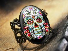 Dia De Los Muertos Traditional Day of the Dead Skull Antique Bronze Ring