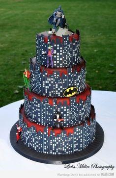 gorgeous superhero cake!  I love the villains and heroes